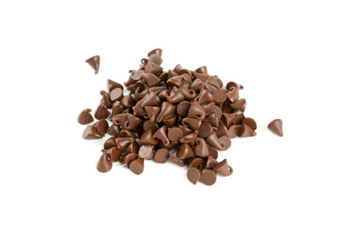 chocolate drops isolated on white
